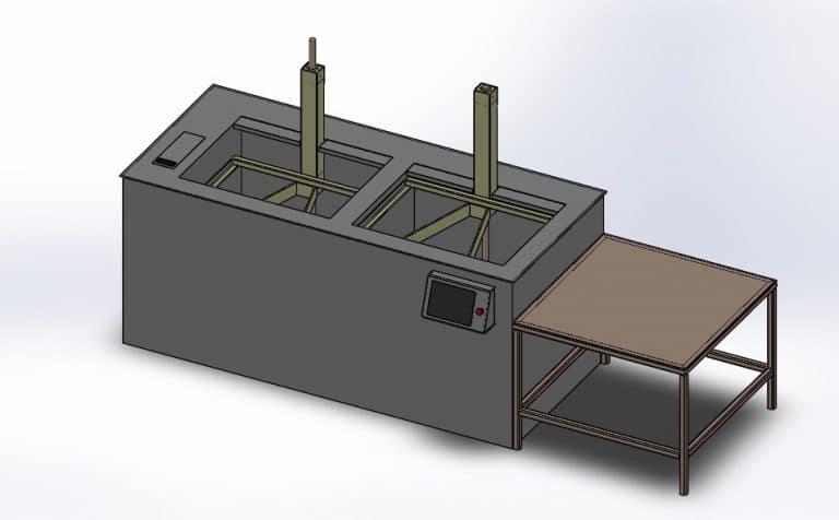 Lavadora por ultrasonidos diseño 3D